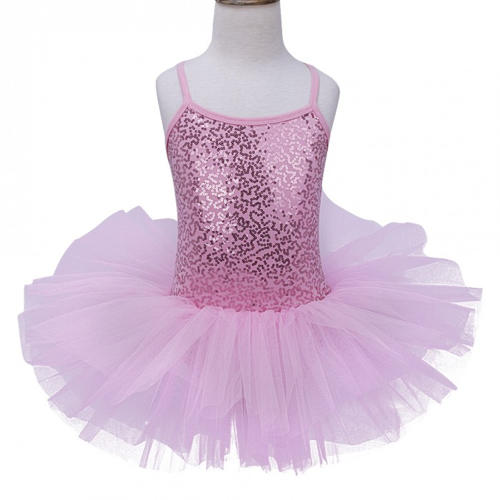 White L NEW Girls Ballet Sequins tutu Dance Costume