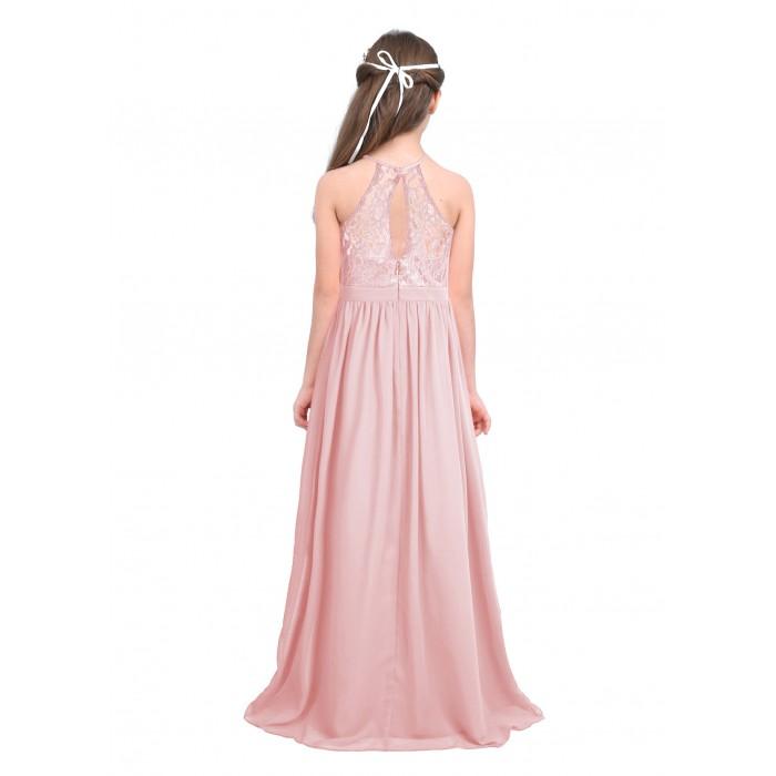b9d24cfda8 ... ranrann 10042367 Pearl Pink Girls Lace Chiffon Sleeveless Halter Flower  Girl Dress Princess Pageant Wedding Bridesmaid ...