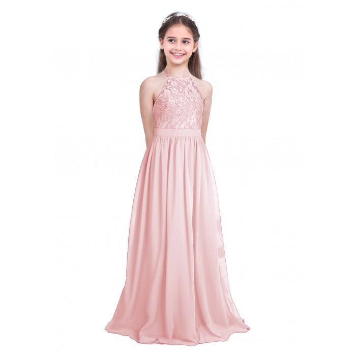 c0056cd232 ranrann 10042367 Pearl Pink Girls Lace Chiffon Sleeveless Halter Flower  Girl Dress Princess Pageant Wedding Bridesmaid ...