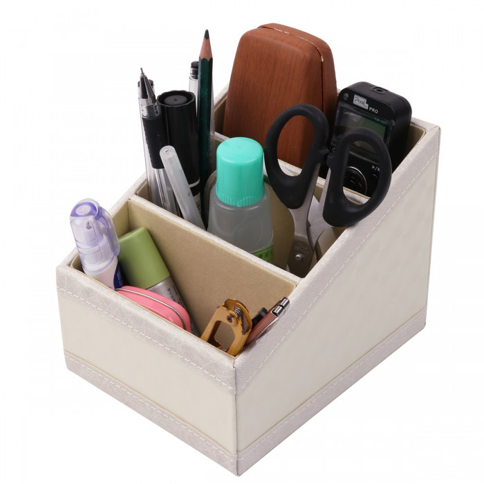 Beige Multi-functional 3 Slot Compartments PU Leather Desk